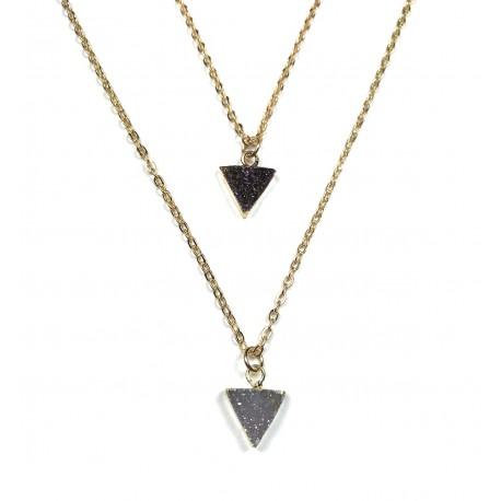 Collier Druzy triangle foncé plaqué or 24K