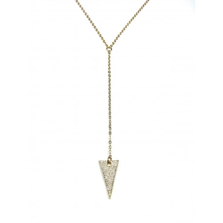 Collier Sautoir Triangle Scintillant plaqué Or 24K
