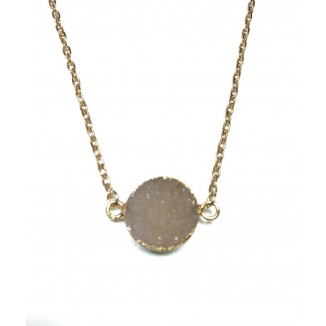 Collier Druzy rond rose clair plaqué or 24K